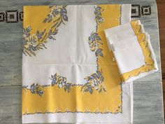 Vintage Linen Tablecloth, Floral Luncheon or Card Table Table Cloth & Napkins Set, Home Decor, Vintage Yellow and Grey Trousseau Outfitters by ReTHINKinIt on Etsy