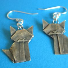 How cute are these?  Silver origami cat earrings!  How does he do that?  @AllegroArts