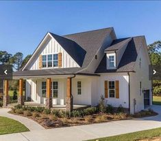 Stunning White Farmhouse Exterior Design Ideas Architectural Designs Modern Farmhouse Plan client-built in North Carolina by The Tuscan Group, INC! White Farmhouse Exterior, Farmhouse Shutters, Farmhouse Design, Exterior Shutters, Farmhouse Ideas, Farmhouse Bedrooms, Country Shutters, Farmhouse Decor, Exterior Paint