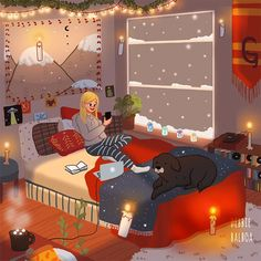 Animated gif about girl in Art/illustration/Animation. Relaxing Gif, Illustration Noel, Cute Couple Art, Christmas Scenes, Christmas Time, Aesthetic Gif, Cartoon Art, Cute Drawings, Cute Wallpapers