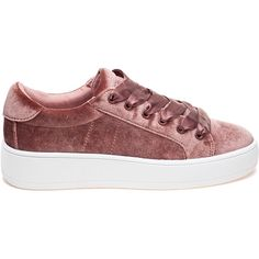 STEVE MADDEN Bertie-V Blush Velvet Sneaker (45.775 CLP) ❤ liked on Polyvore featuring shoes, sneakers, zapatillas, velvet sneakers, rubber sole shoes, platform shoes, lace up sneakers and platform sneakers