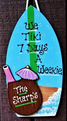 . Heres a super-cute Personalized Tropical Tiki Bar Sign....Personalization is Free of Charge...To request the PERSONALIZATION INFO simply send us an ETSY CONVO MESSAGE when making your payment.! WE TIKI 7 DAYS A WEEKIE.......(Personalized Name on Coconut Drink Cup) Sign measures