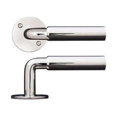 Dörrhandtag funkis, förnicklat / Door handle http://www.byggfabriken.com/sortiment/dorrhandtag/funkisdorrhandtag/funkistrycke-nickel/info/produkter/550-262-funkistrycke-nickel/