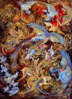 Mahmoud Farshchian: Glory Of Nature, Persia, Persian, Iran Miniature Art Print Nature Artists, Iranian Art, Thai Art, Sacred Art, Islamic Art, Japanese Art, Les Oeuvres, Art Museum, Fantasy Art