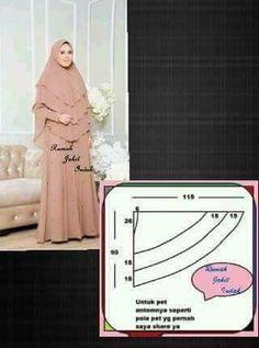 Pola hijab - Her Crochet Muslim Dress, Hijab Dress, Hijab Outfit, Clothing Patterns, Dress Patterns, Sewing Patterns, Techniques Couture, Sewing Techniques, Hijab Mode