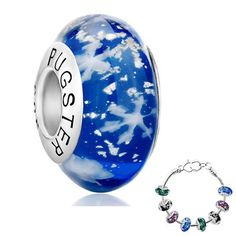 Murano Glass Beads Pugster Jewelry Sapphire Blue Christmas Gifts Snowflake 925 Sterling Silver Charm Fits Pandora Bracelet