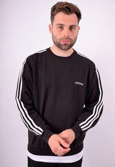 Adidas Mens Vintage Sweatshirt Jumper Medium Black 90's