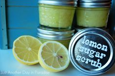 Handmade Sugar & Lemon Scrub. They are AMAZING, makes your skin so smooth you can't stop touching it! Also I didn't have to shave for almost 4 days after using this on my legs! Seriously, go make yourself some!
