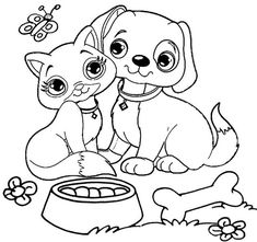 8 Best Dog and Cat to Get Along Coloring Pages images ...