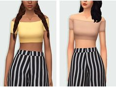 The Sims 4 Waekey off shoulder crop top recolor by blushchat