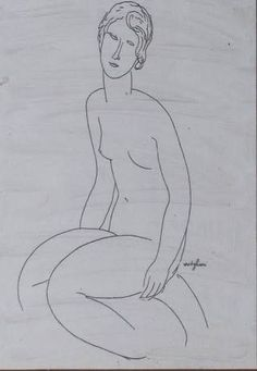 Amedeo Modigliani (It, - Seated Nude - private collection Figure Drawing, Line Drawing, Drawing Sketches, Drawings, Amédéo Modigliani, Atelier D Art, Artist Sketchbook, Paul Gauguin, You Draw