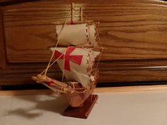 Sale Vintage Santa Maria 1492 wooden model ship sailing, home decor, business decor, gift for him