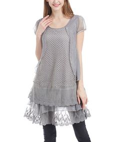 Another great find on #zulily! Gray Lace Bottom Cap-Sleeve Tunic - Plus #zulilyfinds