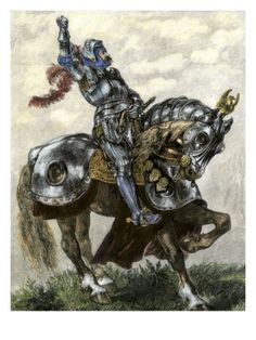 Knight on Horseback Shaking His Fist Defiantly, England Giclee Print