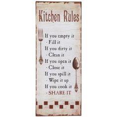Ganz Decorative Sign, Kitchen Rules