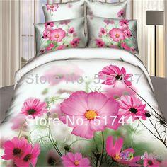 roze lotus bloemen wit beddengoed set 4 stuks beddengoed dekbed donsdeken zijdelings draait quilten dekbed covers voor koning queen size katoen kussensloop