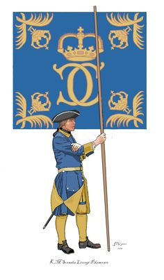 HM the King's Swedish Household Regiment of Foot, pikeman with company colours, probably issued 1697 when Prince Karl became Karl XII. Army Uniform, Military Uniforms, Swedish Flag, Napoleonic Wars, 17th Century, Medieval, Arms, Colours, Drawings