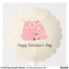 Lovely Pigs Couple Valentine | Balloon Valentines Balloons, Happy Valentines Day, Helium Gas, Custom Balloons, Personalized Products, Pigs, Create Your Own, Centerpieces, Elegant
