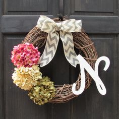 Summer Grapevine Wreath with Initial, Letter Wreath for Front Door, Monogram Wreath for Summer, Flower Letter Wreath, Personalized Wreath