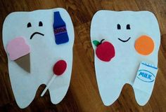 Kids practicing good hygiene and knowing what's good and bad for your teeth can help prevent cavities in the future. Good dental hygiene is important and should be taught and incorporated in there daily routine Body Craft, Community Helpers Preschool, Dental Health Month, Nutrition Activities, Kids Behavior, Childhood Education, Preschool Activities, Healthy Food Activities For Preschool, Nutrition Crafts For Kids