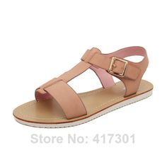 2014 New Summer Women's Buckle Strap Flat Heel Sandals Comfort Casual Shoes Women Sexy Brown Black Apricot White Pink Shoes