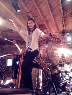 Stana playing with bicycle from 18th century