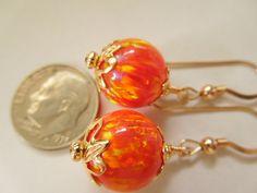 Huge 12mm  Mango Orange Fire Opal Earrings on by CapricesCreations, $40.00