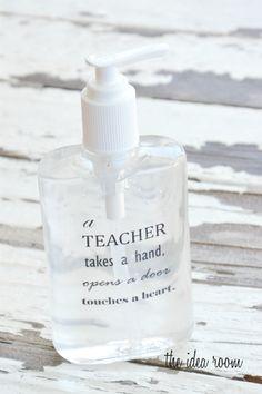 Homemade Teacher Appreciation Hand Sanitizer Soap Dispenser Gift Idea-Free Printable | theidearoom.net