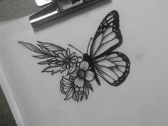 Butterfly sketch, butterfly on flower tattoo, butterfly shoulder tattoo, realistic butterfly tattoo, Butterfly With Flowers Tattoo, Butterfly Sketch, Butterfly Tattoo On Shoulder, Butterfly Tattoo Designs, Butterfly Wings, Butterfly Mandala, Butterfly Quotes, Trendy Tattoos, New Tattoos
