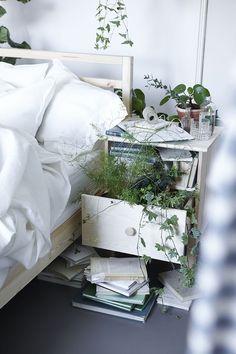 Small dreamy botanical Ikea bedroom