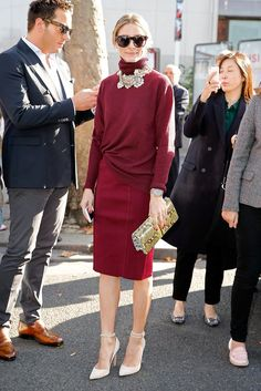 A go-to Sweater is key for putting together holiday outfits, especially in a deep jewel tones (à la Olivia Palermo)