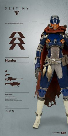 Destiny Hunter Pre-order BEGINS JULY 2016 Bungie and proudly announce the highly anticipated DESTINY HUNTER – the third class of Guardian in Scale Collectible Figure Series from. Destiny Hunter, Destiny Game, Destiny Ii, Destiny Cosplay, Destiny Costume, Character Concept, Character Design, Concept Art, Destiny Bungie