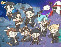 Kpop Exo, Kpop Drawings, Cute Drawings, Exo Cartoon, Exo Anime, Exo Lockscreen, Exo Fan Art, Celebrity Drawings, Exo Members