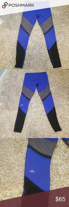 Alo yoga leggings Royal blue, grey and black workout leggings. Mid rise. Size small. True to size. Mesh at bottom and small mesh stripe on legs. Great conditon. Barely worn. ALO Yoga Pants Leggings