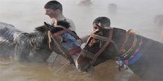 Haberin Ola! | -14 Derecede Atlarla Yıkandılar! - Muş'un Hasköy ilçesinde, gençler -14 derece soğuğa aldırmadan göle giriyor.