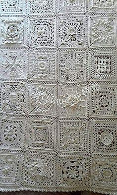 My blanket is done - only needs blocking. Crochet Mandala Pattern, Granny Square Crochet Pattern, Afghan Crochet Patterns, Crochet Squares, Crochet Granny, Crochet Stitches, Crochet Wool, Crochet Quilt, Filet Crochet