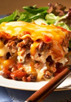Make-Ahead Chili & Cheese Lasagna — Here's everything you love in a beefy, cheesy make-ahead lasagna—and everything you love in a beefy, cheesy chili too!