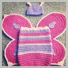Baby girl crochet butterfly wings, cocoon and hat set