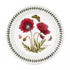 """New for 2014, add to your collection of Portmeirion Botanic Garden motifs with the 8.5"""" Poppy salad plate."""