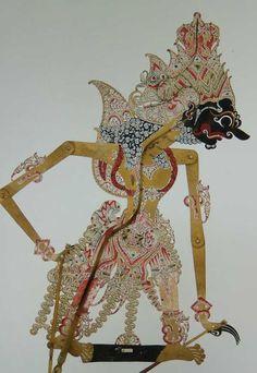 Boma Sitija, son of Wisnu and Pretiwi, who be Kresna's son after God Wisnu live in Kresna's body. Javanese, Shadow Puppets, Yogyakarta, Fabric Design, Artwork, Sony, Houses, Painting, Inspiration