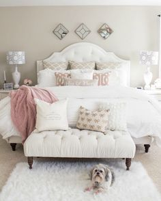 If you are tired of your master bedroom, you can incorporate a few changes that make a big difference. Romantic master bedroom interior design ideas can include updating your wall finishes with a…More Master Bedroom Design, Bedroom Designs, Dream Bedroom, Home Decor Bedroom, Cozy Bedroom, Bedroom Bed, Bedroom Apartment, White Comforter Bedroom, Pink Master Bedroom