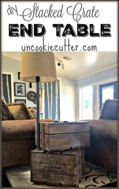 End Table - Stacked Crates with Storage and Lamp - Uncookie Cutter Western Furniture, Rustic Furniture, Diy Furniture, Cabin Furniture, Furniture Design, Crate End Tables, Wood End Tables, Decorating Your Home, Diy Home Decor