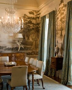The walls of the formal dining room are covered in a hand-painted canvas mural created by P.E. Guerin in New York City that features a sepia-toned depiction of the Louisiana swampland. The artist was flown over the actual swamps for a first-hand viewing.