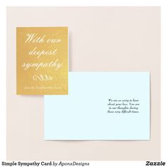 Shop Simple Sympathy Card created by AponxDesigns. Paper Envelopes, White Envelopes, Deepest Sympathy, Condolences, Colored Paper, Sympathy Cards, Gold Foil, Thoughts, Simple