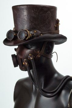 Steampunk leather tophat and gasmask by Valimaa.