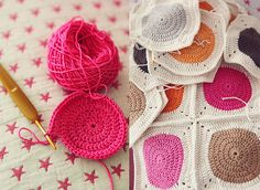 Circle in a square blanket in pretty colors.