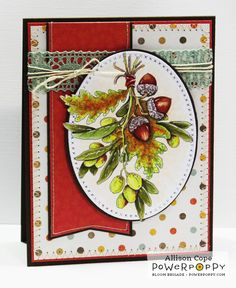 Your Memories with Ally: Autumn's Just Around the Corner. Olive and Oak Digital Stamp Set by Power Poppy, Card Design by Ally Cope.