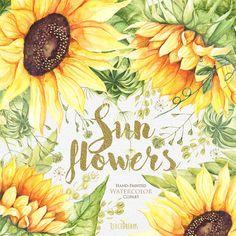 Girasol flores de acuarela Imágenes Prediseñadas por ReachDreams