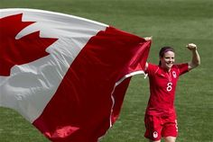 Canada's Diana Matheson, who scored the game-winning goal, celebrates her team's victory against France in their bronze medal women's soccer match at the 2012 London Summer Olympics, Thursday, Aug. 9, 2012 at The Ricoh Arena Stadium in Coventry, England. (AP Photo/The Canadian Press, Frank Gunn)