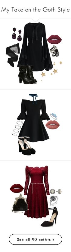 """""""My Take on the Goth Style"""" by spectre11 ❤ liked on Polyvore featuring Chicwish, WithChic, Wolford, Lime Crime, Kenneth Jay Lane, Jimmy Choo, Pure Luxuries, New Look, House of Harlow 1960 and 1928"""